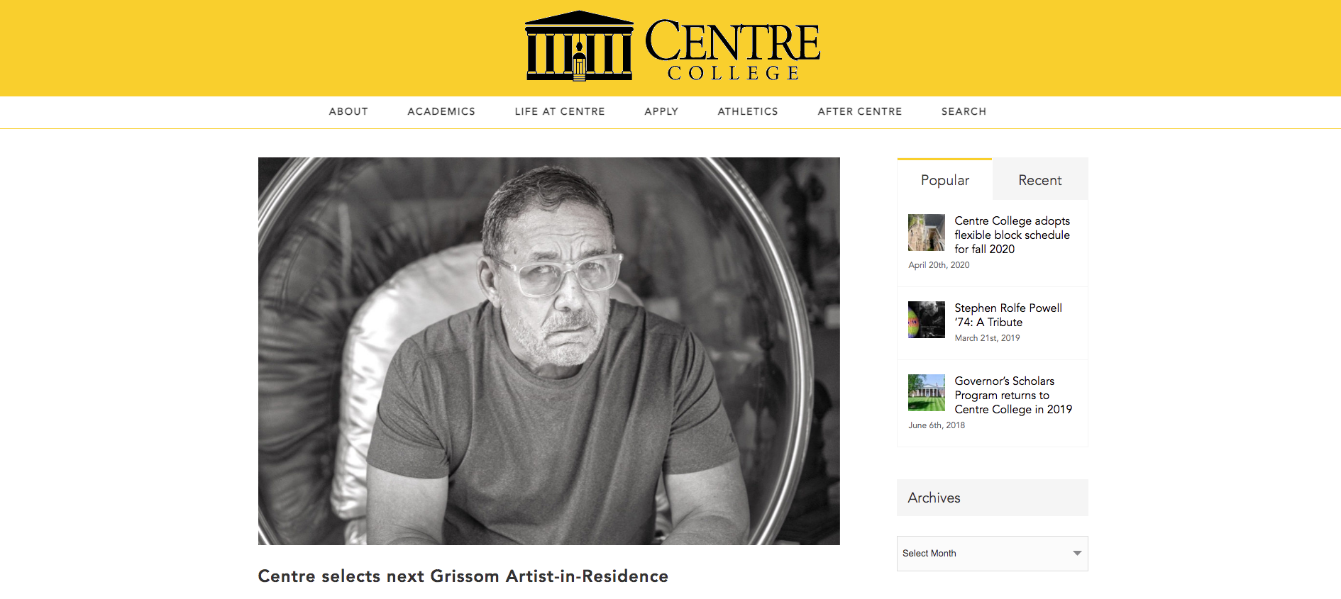 Centre College selects next Grissom Artist-in-Residence
